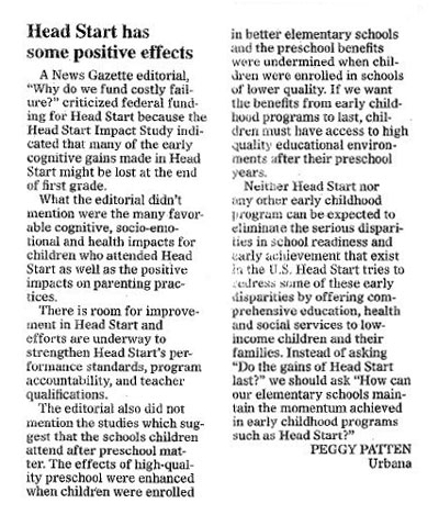 A Letter to the Editor supporting Head Start