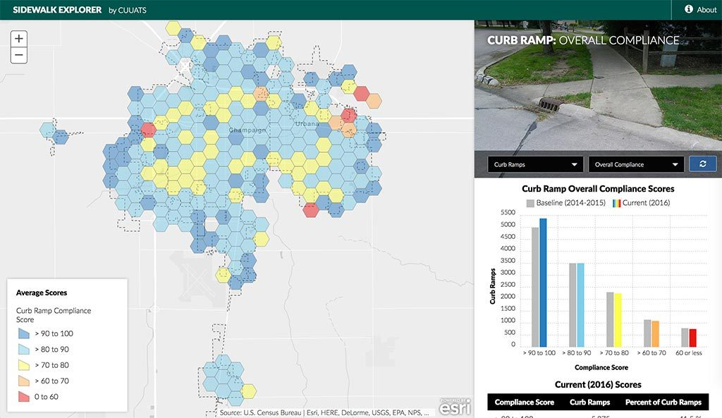 A screenshot showing the interactive Sidewalk Explorer web app, with a map and chart of curb ramp compliance scores.