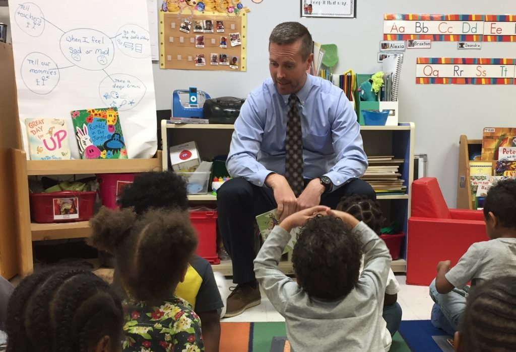 U.S. Congressman Rodney Davis interacts with children at Urbana Head Start
