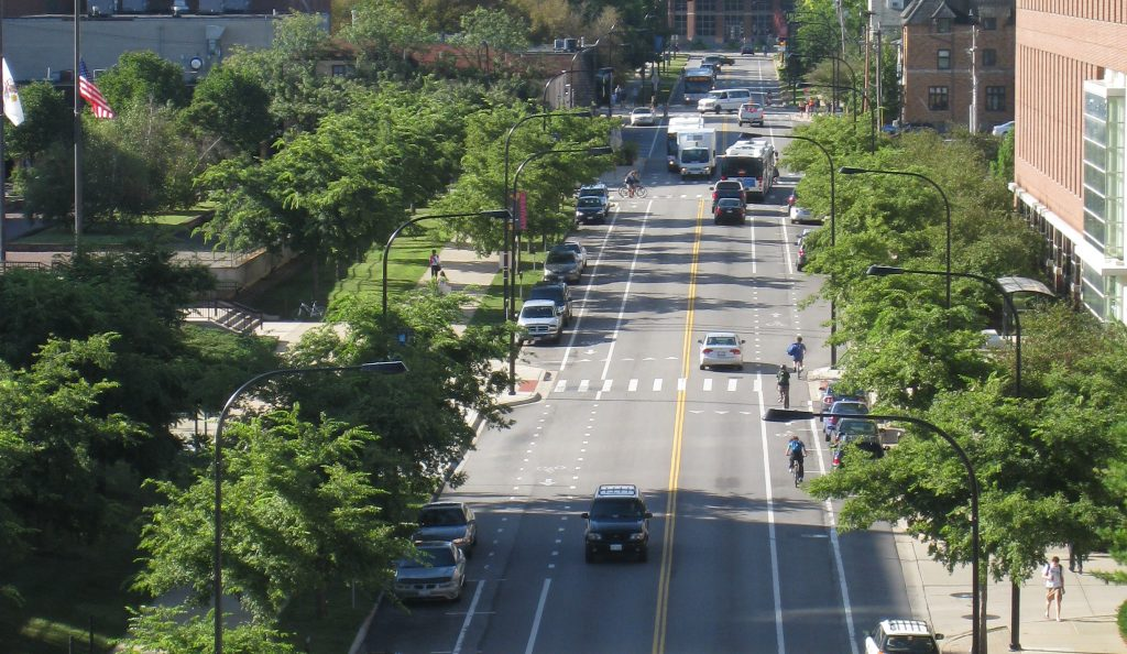 An aerial view of a street in the Champaign-Urbana area