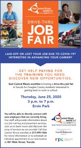 An advertisement for the Drive Thru Job Fair in Tuscola