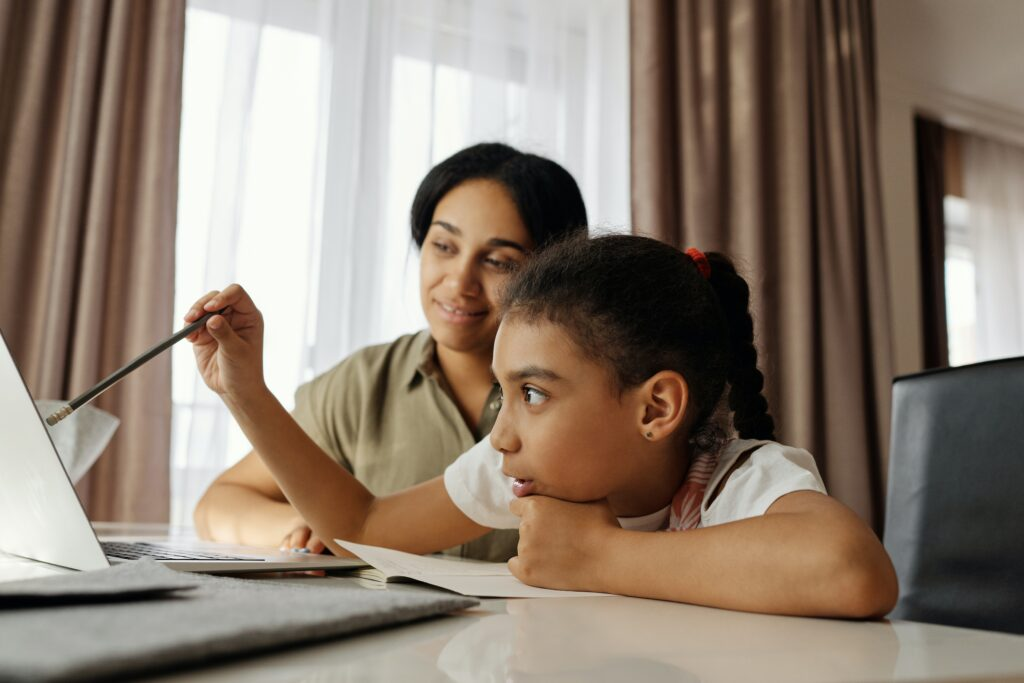 A social worker helping a child