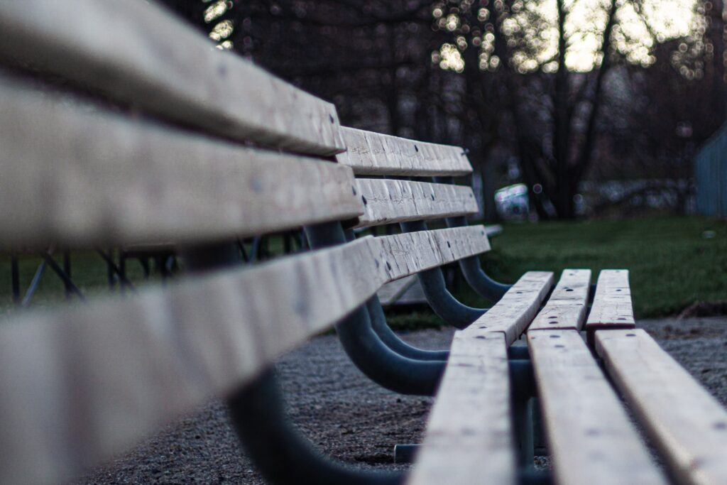 A couple of park benches