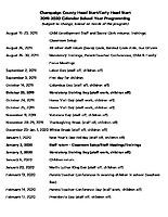 Calendar – 2019-2020 School Year