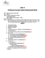 November 20, 2019 Workforce Innovation Board Agenda