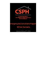 2021 CSPH ESG Written Standards