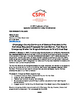 NEWS RELEASE—Proposals Sought to Provide Emergency Shelter for Champaign County Individuals